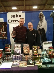 Me with Horror Novelist John Everson at the Haunted Halloween Flea Market, 10/25/14 at the DuPage County Fairgrounds.